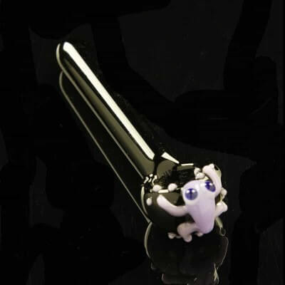 "Glassheads 3.75"" Black Spoon with Lavender Frog Critter"