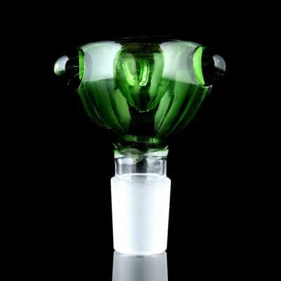 Glassheads Stem w/ Green Colored Bowl & Clear Marbles - 18mm Male
