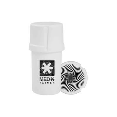 """The Medtainer Storage w/ Grinder """"Warped"""" White - 20 Dram"""